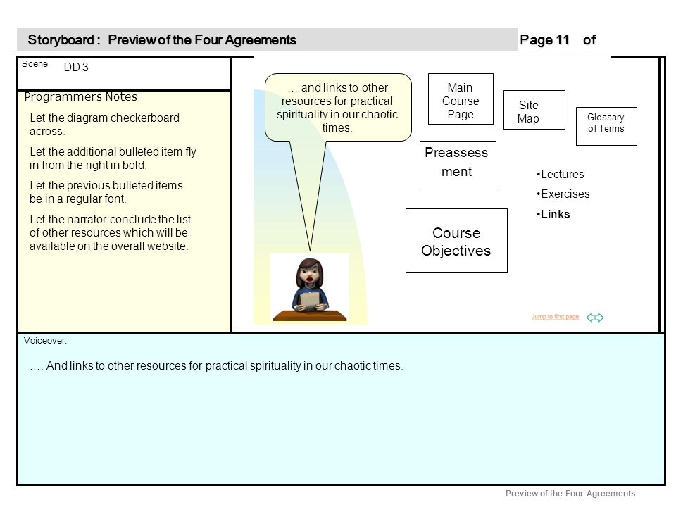 Programmers Notes Page of 11 11 Scene Voiceover: Storyboard : Preview of the Four Agreements Storyboard : Preview of the Four Agreements Preview of the Four Agreements DD 3 Let the diagram checkerboard across.