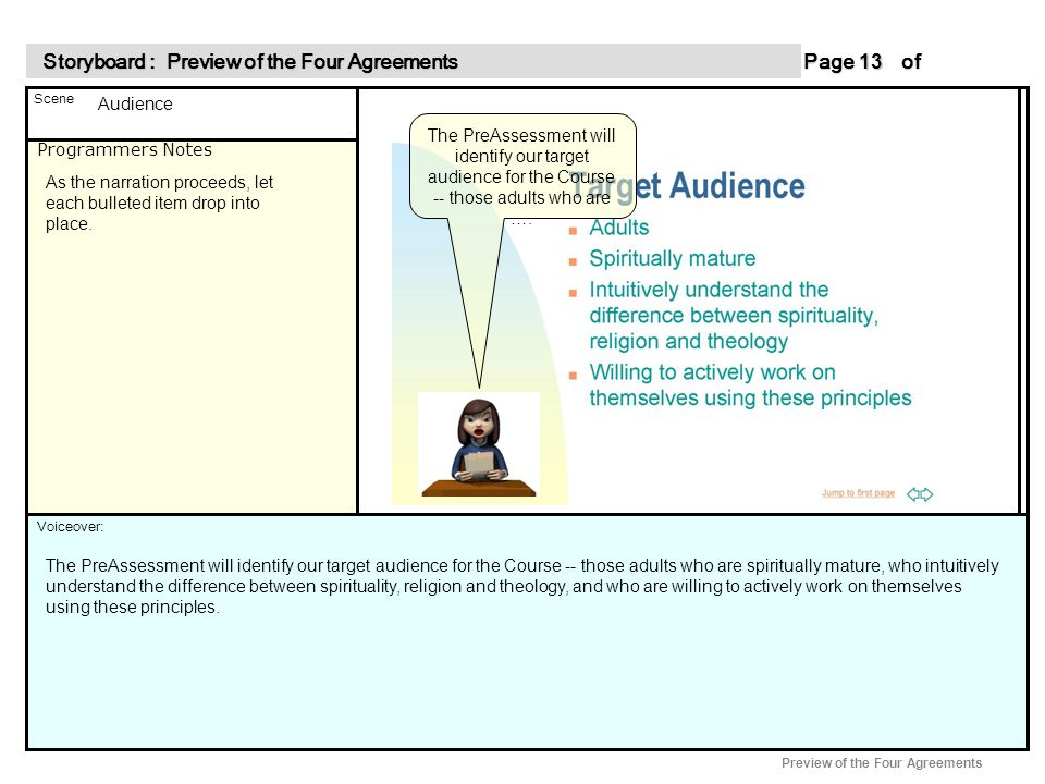 Programmers Notes Page of 13 13 Scene Voiceover: Storyboard : Preview of the Four Agreements Storyboard : Preview of the Four Agreements Preview of the Four Agreements As the narration proceeds, let each bulleted item drop into place.