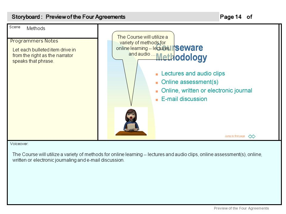 Programmers Notes Page of 14 14 Scene Voiceover: Storyboard : Preview of the Four Agreements Storyboard : Preview of the Four Agreements Preview of the Four Agreements Methods Let each bulleted item drive in from the right as the narrator speaks that phrase.