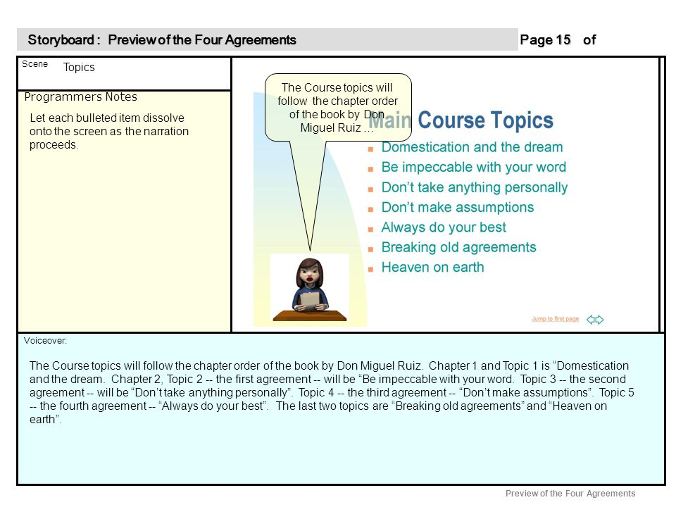 Programmers Notes Page of 15 15 Scene Voiceover: Storyboard : Preview of the Four Agreements Storyboard : Preview of the Four Agreements Preview of the Four Agreements The Course topics will follow the chapter order of the book by Don Miguel Ruiz … Topics Let each bulleted item dissolve onto the screen as the narration proceeds.