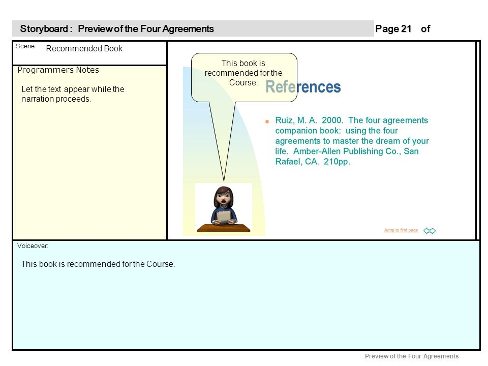 Programmers Notes Page of 21 21 Scene Voiceover: Storyboard : Preview of the Four Agreements Storyboard : Preview of the Four Agreements Preview of the Four Agreements This book is recommended for the Course.