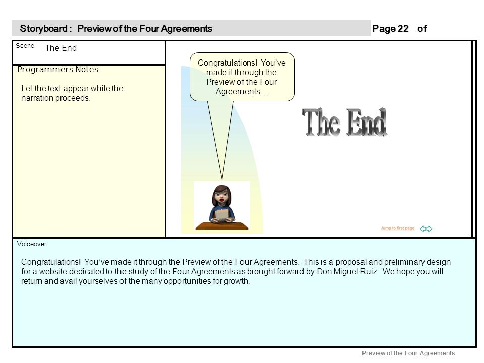 Programmers Notes Page of 22 22 Scene Voiceover: Storyboard : Preview of the Four Agreements Storyboard : Preview of the Four Agreements Preview of the Four Agreements Congratulations.
