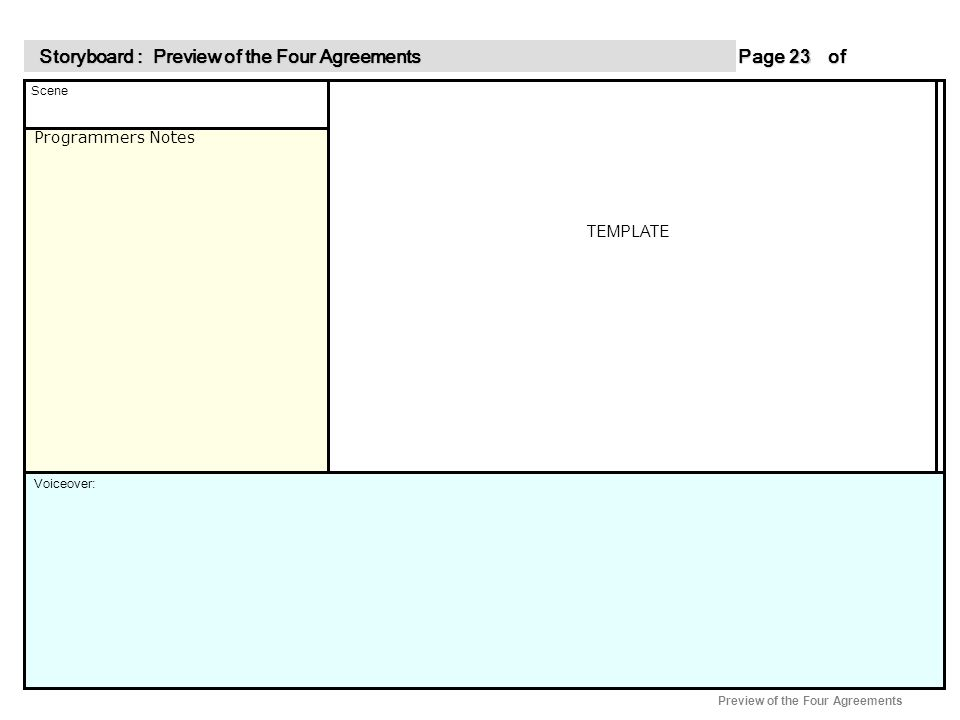 Programmers Notes Page of 23 23 Scene Voiceover: Storyboard : Preview of the Four Agreements Storyboard : Preview of the Four Agreements Preview of the Four Agreements TEMPLATE