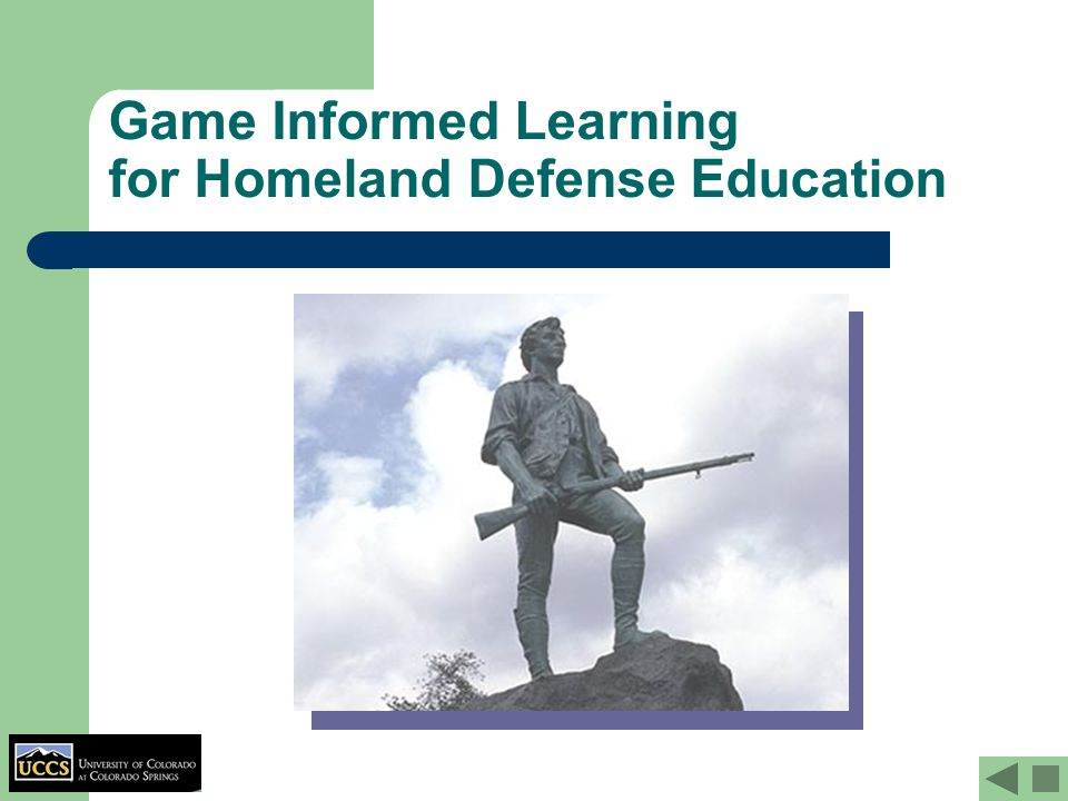 Game Informed Learning for Homeland Defense Education