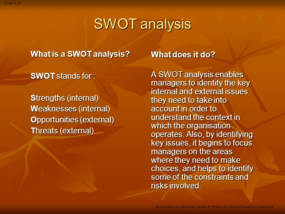 Slide 11.10 Bernard Burnes, Managing Change, 5 th Edition, © Pearson Education Limited 2009 SWOT analysis What is a SWOT analysis.
