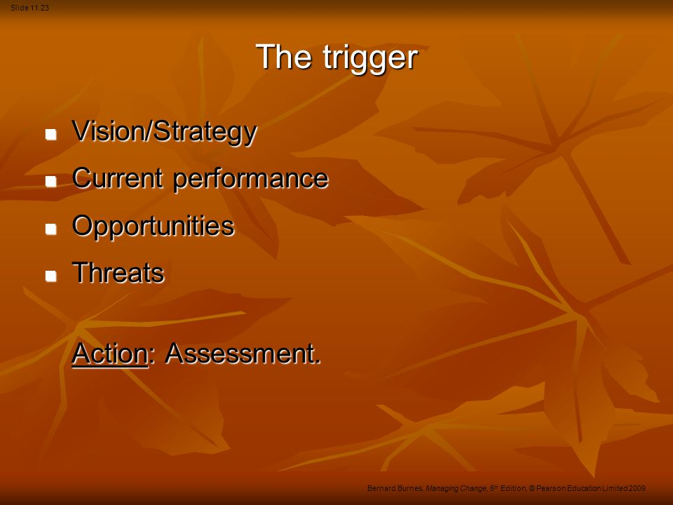 Slide 11.23 Bernard Burnes, Managing Change, 5 th Edition, © Pearson Education Limited 2009 The trigger Vision/Strategy Vision/Strategy Current perfor