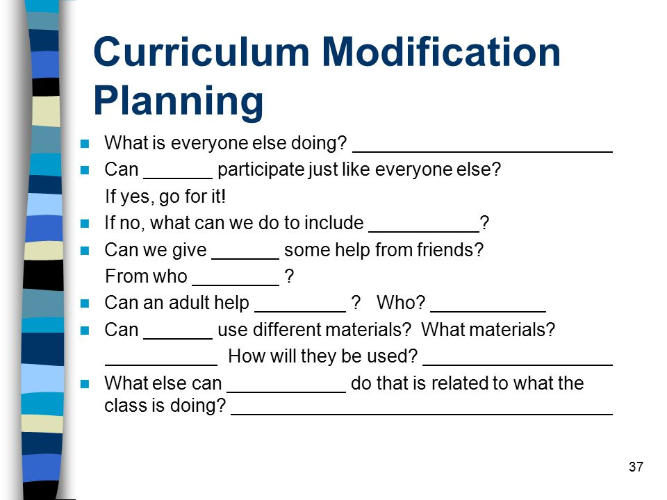 37 Curriculum Modification Planning What is everyone else doing.