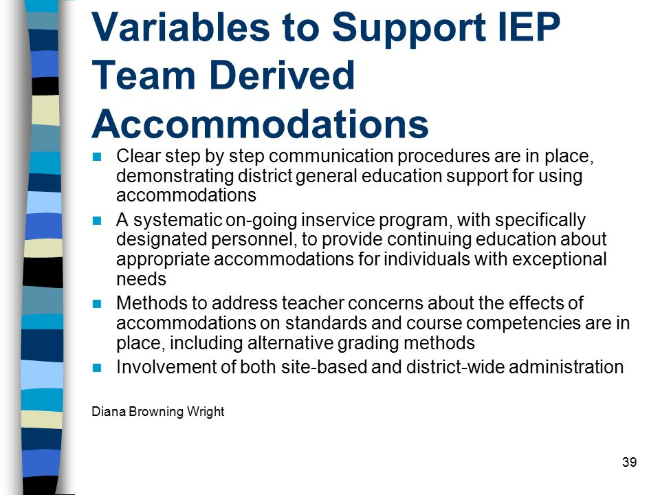 39 Variables to Support IEP Team Derived Accommodations Clear step by step communication procedures are in place, demonstrating district general education support for using accommodations A systematic on-going inservice program, with specifically designated personnel, to provide continuing education about appropriate accommodations for individuals with exceptional needs Methods to address teacher concerns about the effects of accommodations on standards and course competencies are in place, including alternative grading methods Involvement of both site-based and district-wide administration Diana Browning Wright