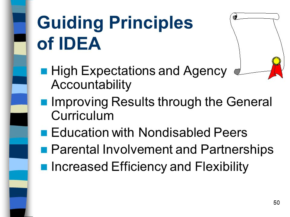 50 Guiding Principles of IDEA High Expectations and Agency Accountability Improving Results through the General Curriculum Education with Nondisabled Peers Parental Involvement and Partnerships Increased Efficiency and Flexibility