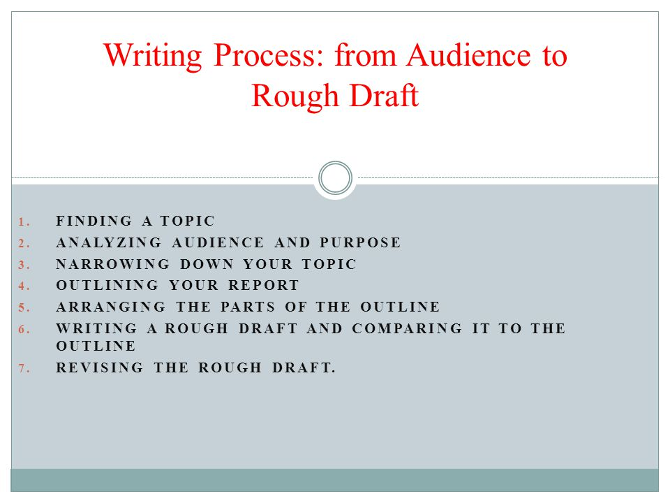 Writing Process: from Audience to Rough Draft 1. FINDING A TOPIC 2.