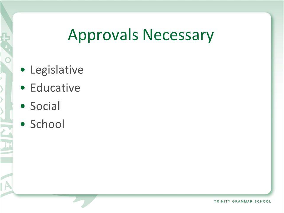 Approvals Necessary Legislative Educative Social School