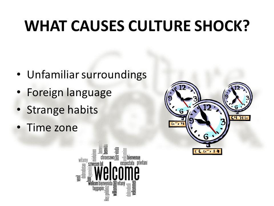 WHAT CAUSES CULTURE SHOCK? Unfamiliar surroundings Foreign language Strange habits Time zone