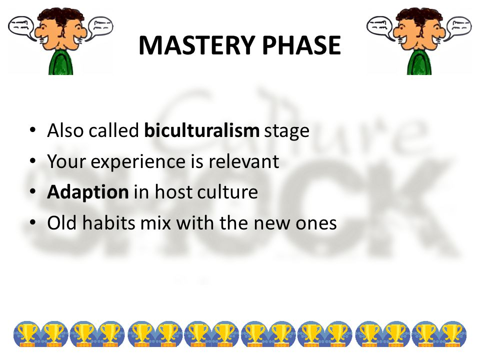 MASTERY PHASE Also called biculturalism stage Your experience is relevant Adaption in host culture Old habits mix with the new ones