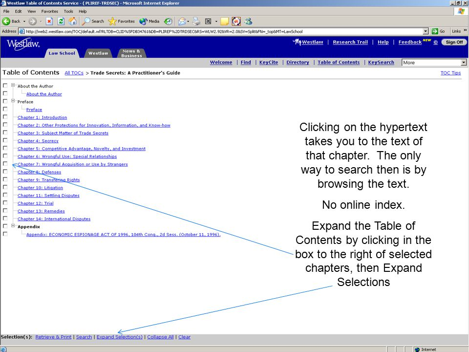 Clicking on the hypertext takes you to the text of that chapter.