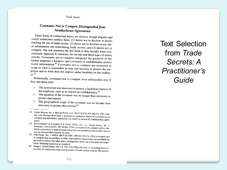 Text Selection from Trade Secrets: A Practitioner's Guide