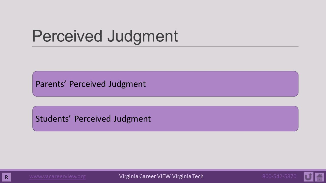 Perceived Judgment Parents' Perceived Judgment Students' Perceived Judgment R www.vacareerview.orgwww.vacareerview.org Virginia Career VIEW Virginia Tech 800-542-5870