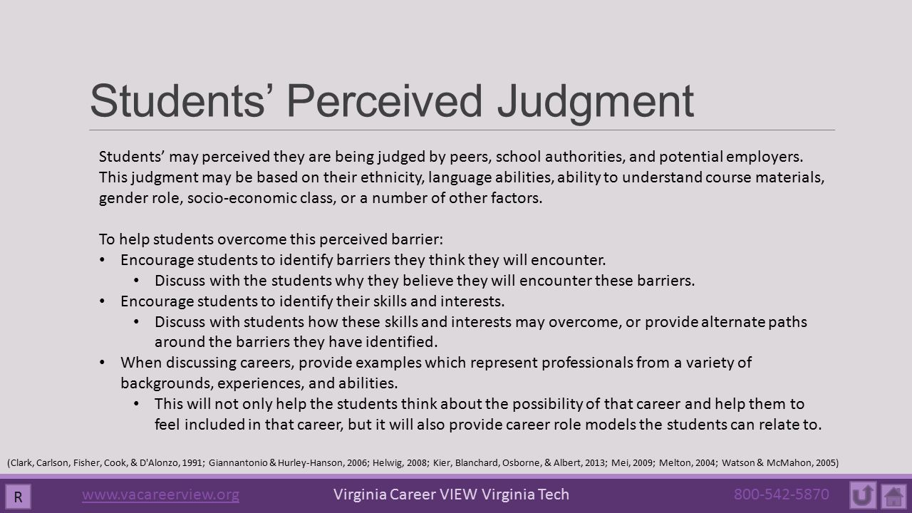 Students' Perceived Judgment Students' may perceived they are being judged by peers, school authorities, and potential employers.