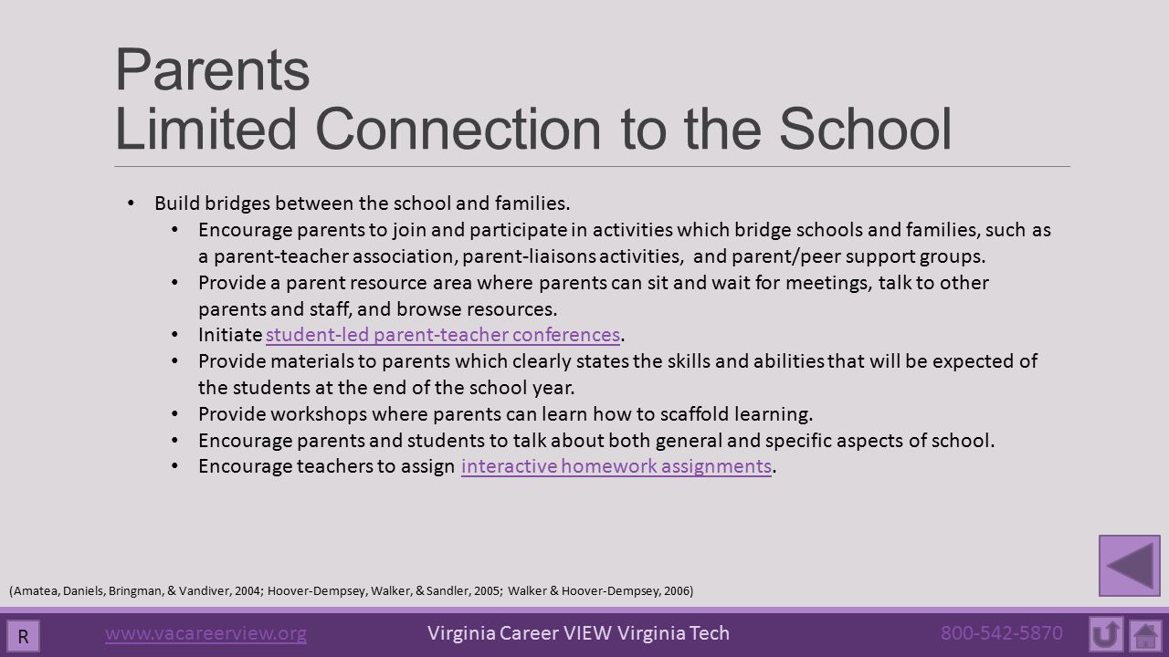 Parents Limited Connection to the School Build bridges between the school and families. Encourage parents to join and participate in activities which