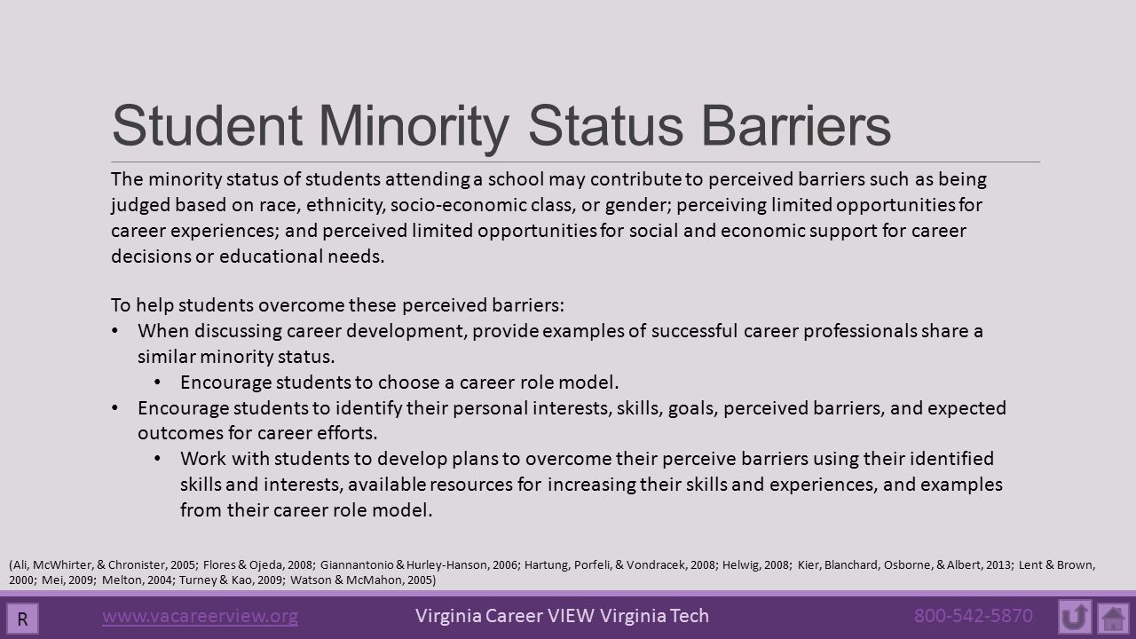 Student Minority Status Barriers R The minority status of students attending a school may contribute to perceived barriers such as being judged based