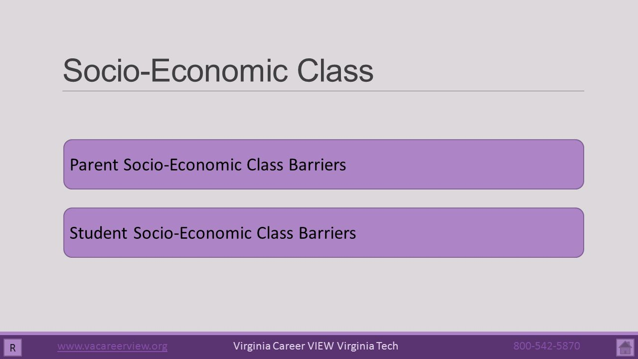 Socio-Economic Class R Parent Socio-Economic Class Barriers Student Socio-Economic Class Barriers www.vacareerview.orgwww.vacareerview.org Virginia Career VIEW Virginia Tech 800-542-5870