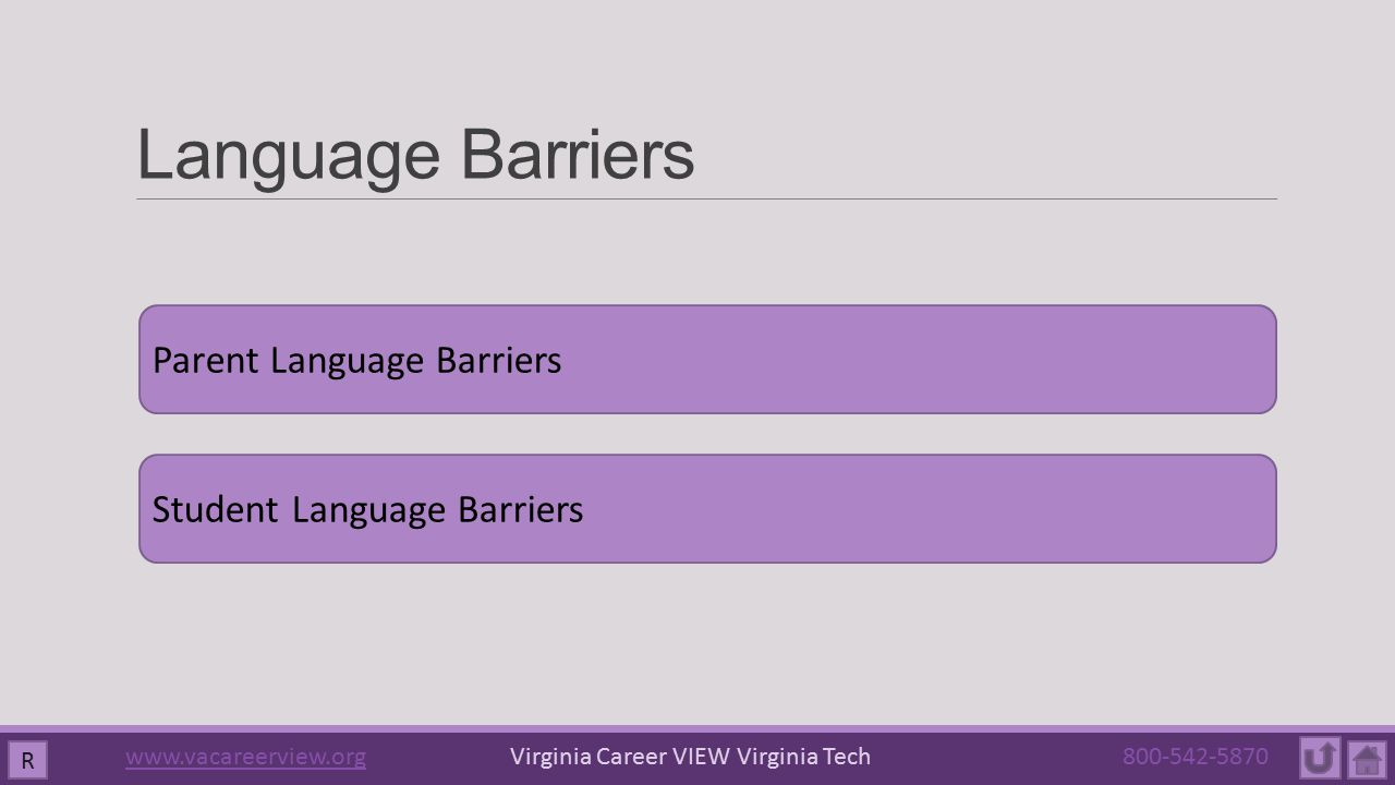 Language Barriers Parent Language Barriers Student Language Barriers R www.vacareerview.orgwww.vacareerview.org Virginia Career VIEW Virginia Tech 800