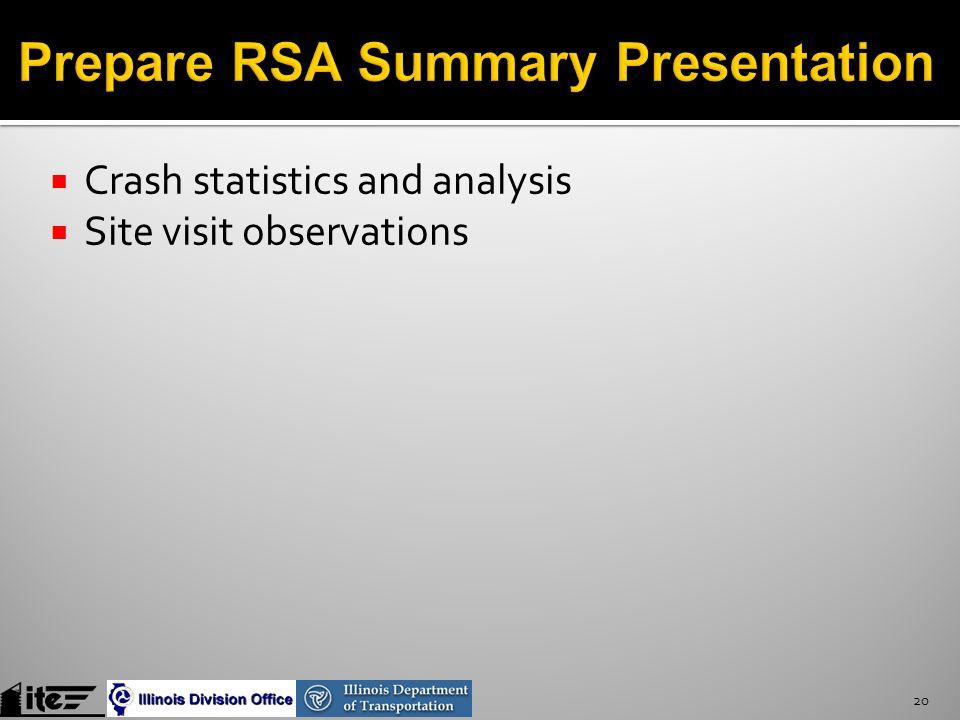  Crash statistics and analysis  Site visit observations 20
