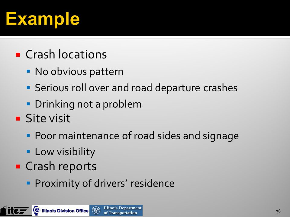 36  Crash locations  No obvious pattern  Serious roll over and road departure crashes  Drinking not a problem  Site visit  Poor maintenance of road sides and signage  Low visibility  Crash reports  Proximity of drivers' residence