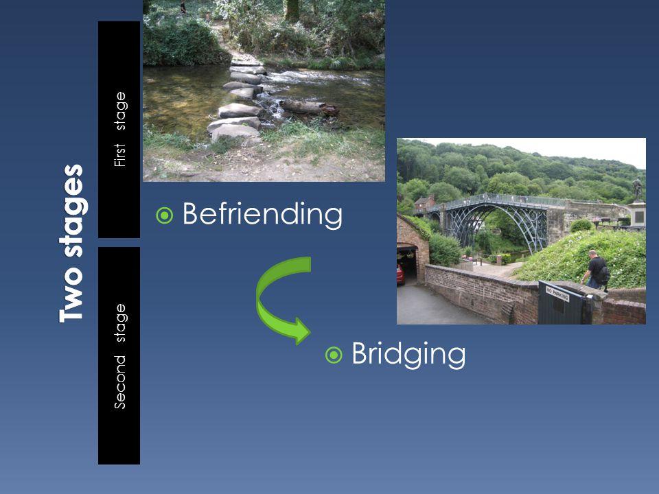 First stage Second stage  Befriending  Bridging