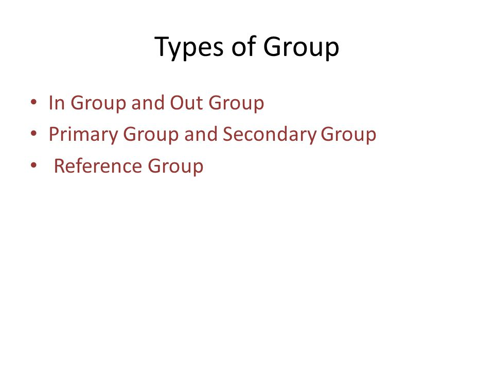 Types of Group In Group and Out Group Primary Group and Secondary Group Reference Group