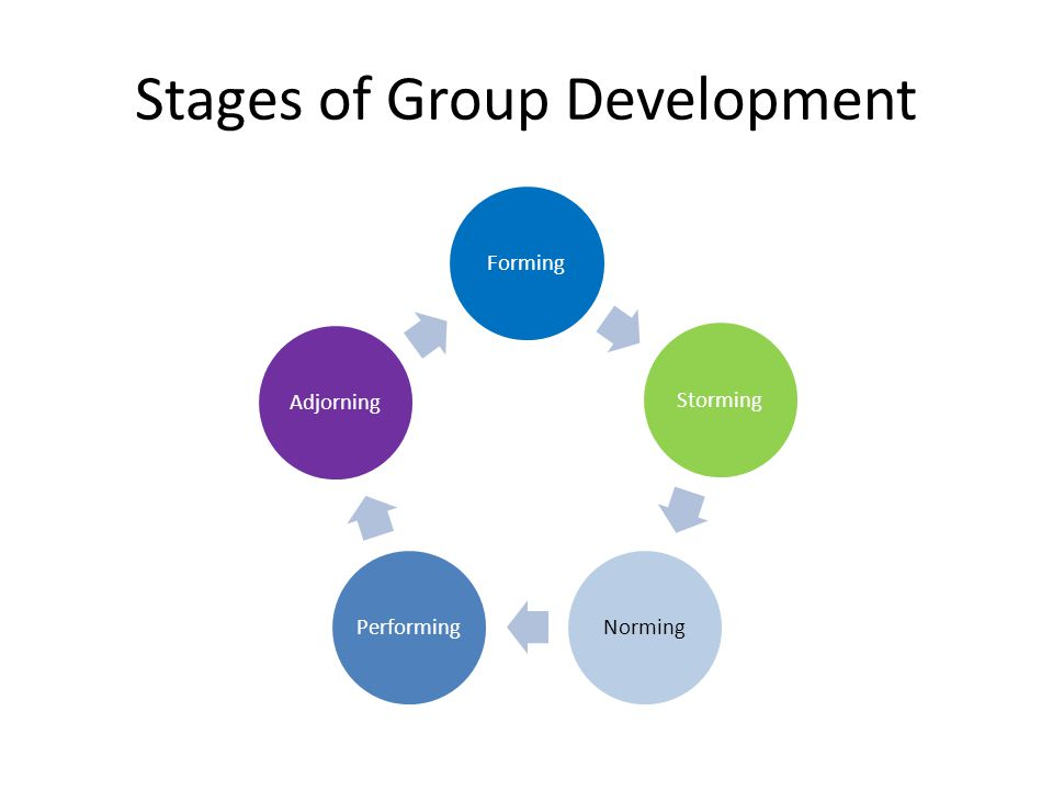 Forming Storming Norming Performing Adjourning Individuals are not clear on what they're supposed to do No group history; unfamiliar with group members.