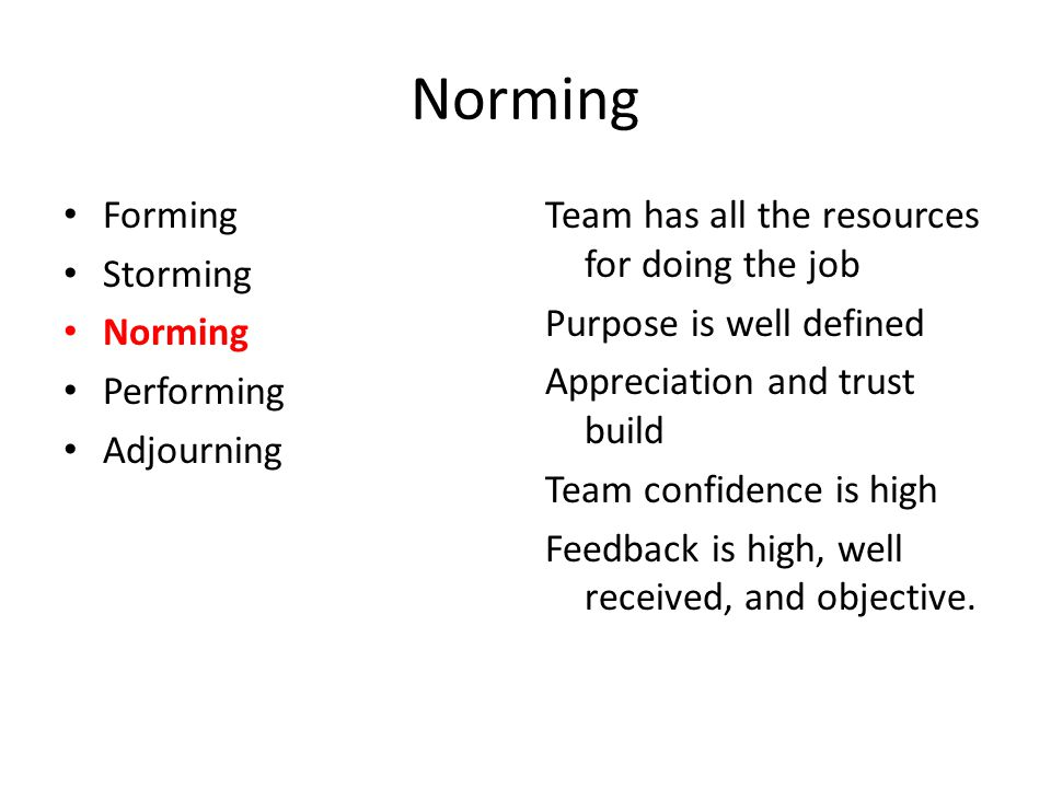 Norming Forming Storming Norming Performing Adjourning Team has all the resources for doing the job Purpose is well defined Appreciation and trust bui