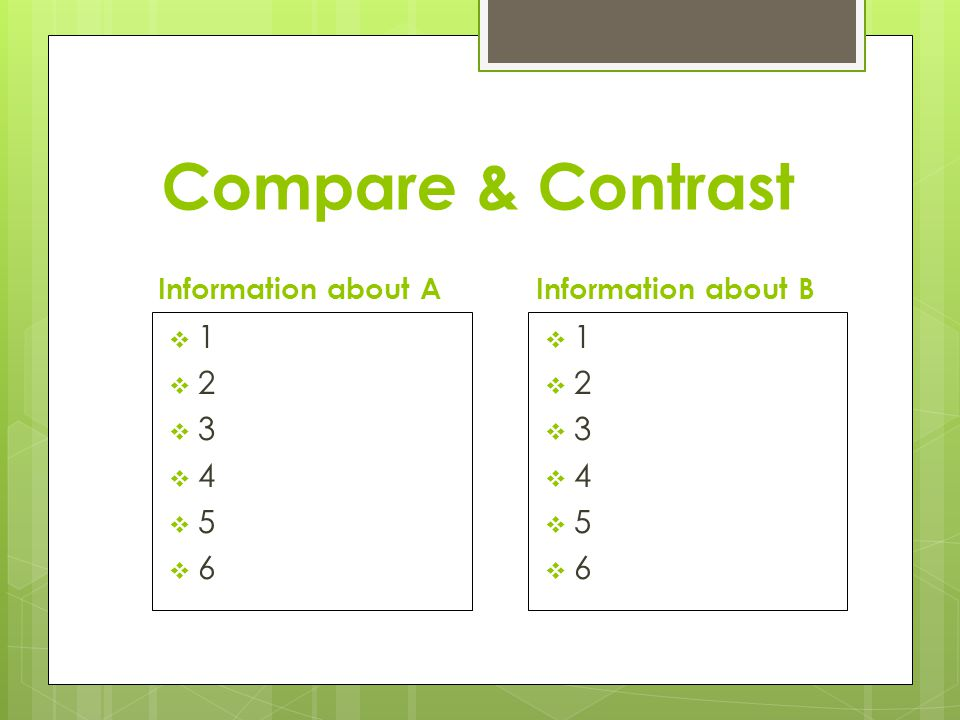 Compare & Contrast Information about A 123456123456 Information about B 123456123456