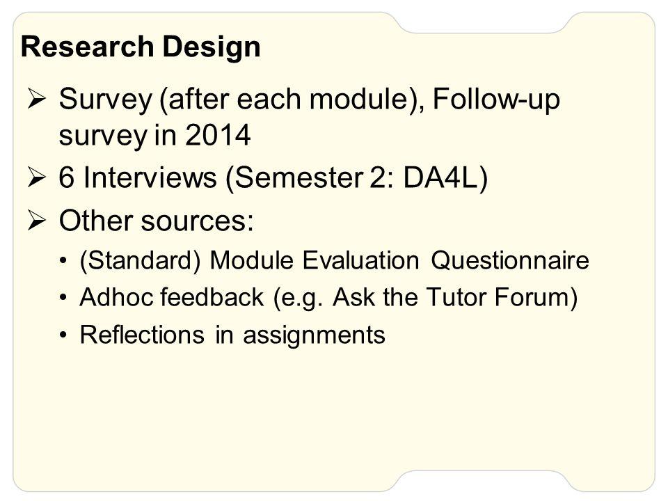 Research Design  Survey (after each module), Follow-up survey in 2014  6 Interviews (Semester 2: DA4L)  Other sources: (Standard) Module Evaluation Questionnaire Adhoc feedback (e.g.