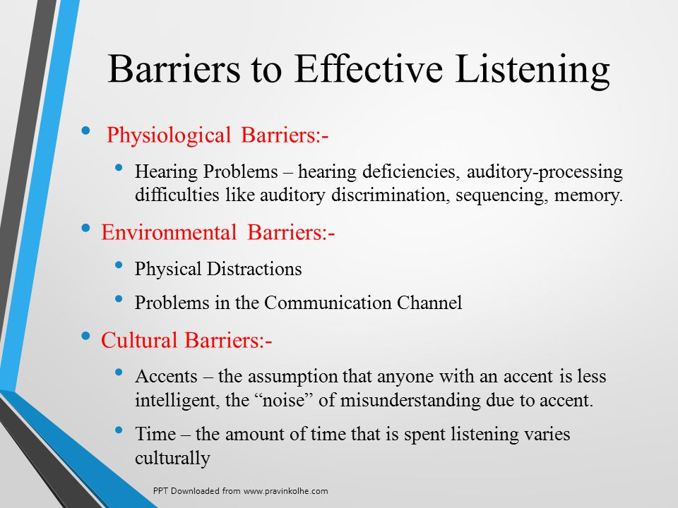 Barriers to Effective Listening Physiological Barriers:- Hearing Problems – hearing deficiencies, auditory-processing difficulties like auditory discr