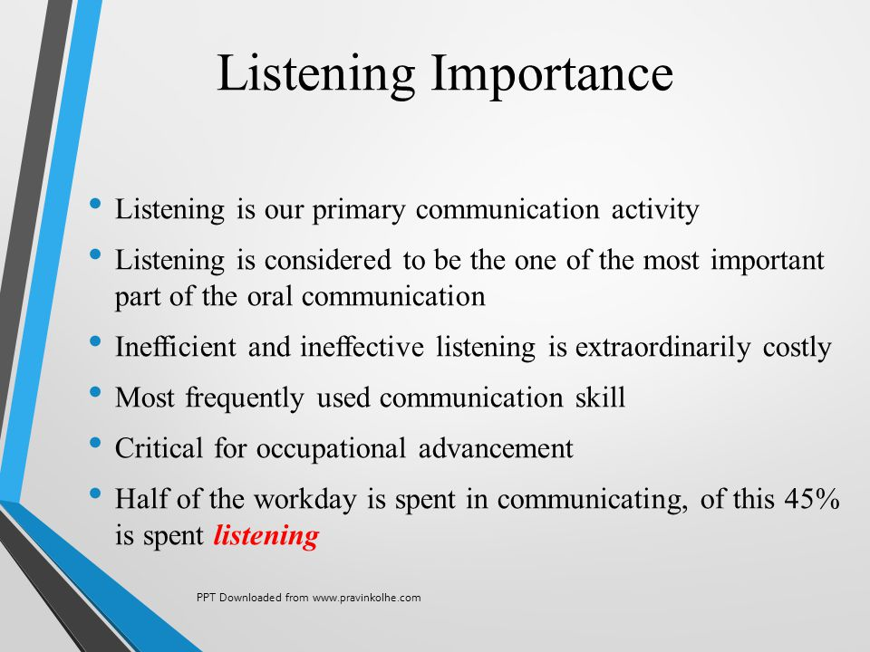 Listening Importance Listening is our primary communication activity Listening is considered to be the one of the most important part of the oral comm