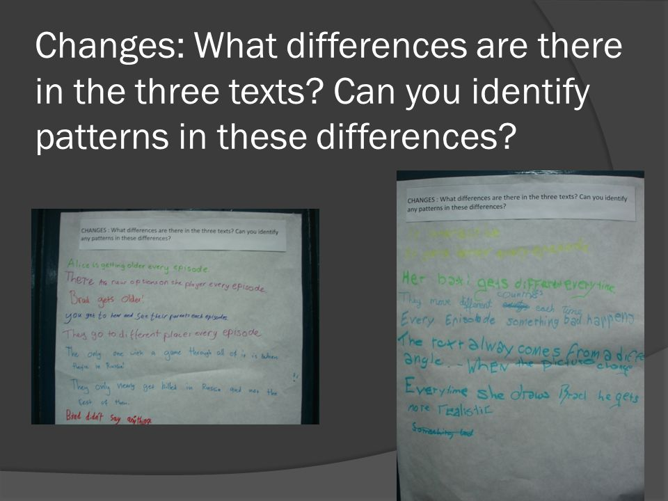 Changes: What differences are there in the three texts.