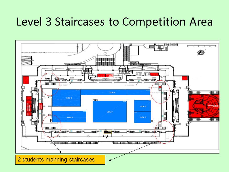 Level 3 Staircases to Competition Area 2 students manning staircases