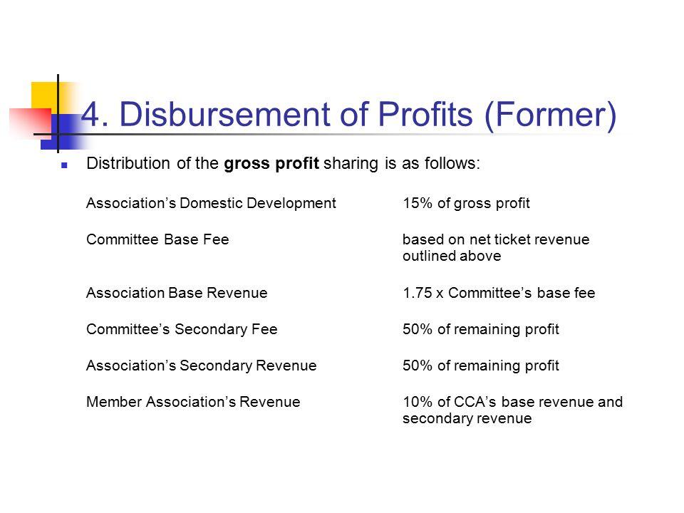 4. Disbursement of Profits (Former) Distribution of the gross profit sharing is as follows: Association's Domestic Development15% of gross profit Comm