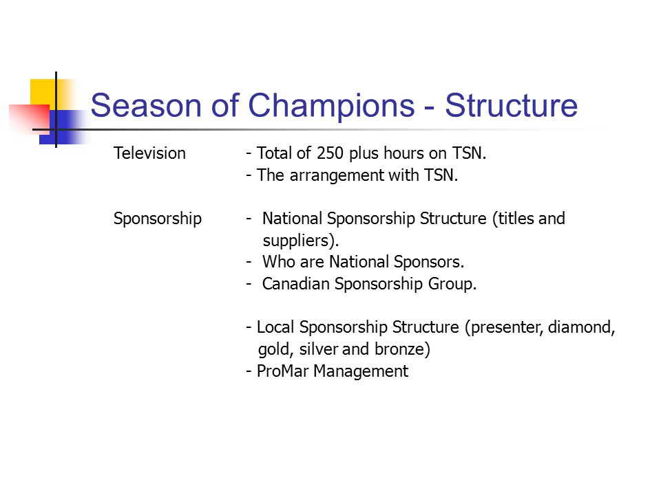 Season of Champions - Structure Television - Total of 250 plus hours on TSN.