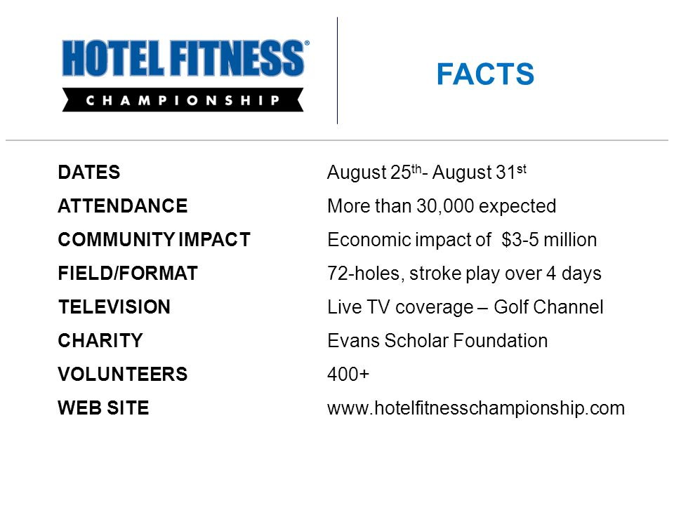 DATES August 25 th - August 31 st ATTENDANCEMore than 30,000 expected COMMUNITY IMPACT Economic impact of $3-5 million FIELD/FORMAT 72-holes, stroke play over 4 days TELEVISION Live TV coverage – Golf Channel CHARITYEvans Scholar Foundation VOLUNTEERS400+ WEB SITE www.hotelfitnesschampionship.com FACTS