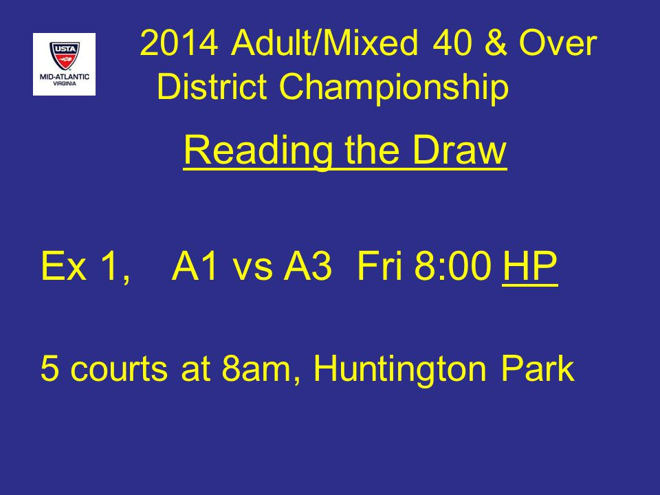 2014 Adult/Mixed 40 & Over District Championship Reading the Draw Ex 1,A1 vs A3 Fri 8:00HP 5 courts at 8am, Huntington Park