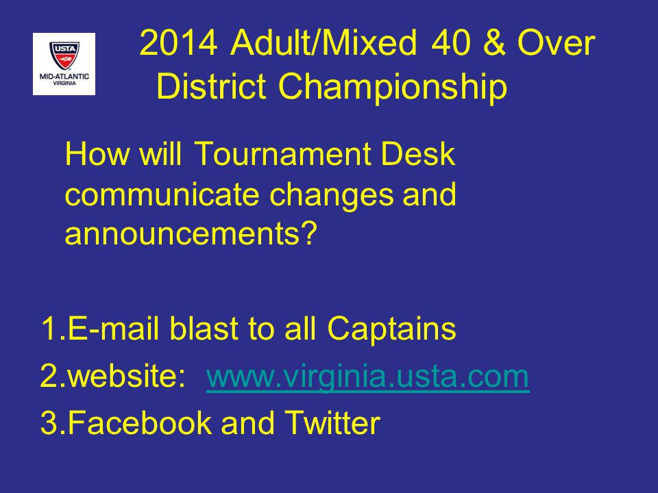 2014 Adult/Mixed 40 & Over District Championship How will Tournament Desk communicate changes and announcements.