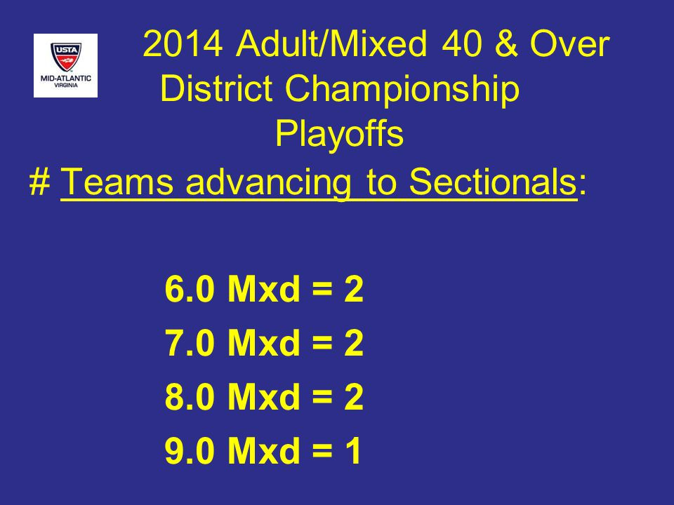 2014 Adult/Mixed 40 & Over District Championship Playoffs # Teams advancing to Sectionals: 6.0 Mxd = 2 7.0 Mxd = 2 8.0 Mxd = 2 9.0 Mxd = 1