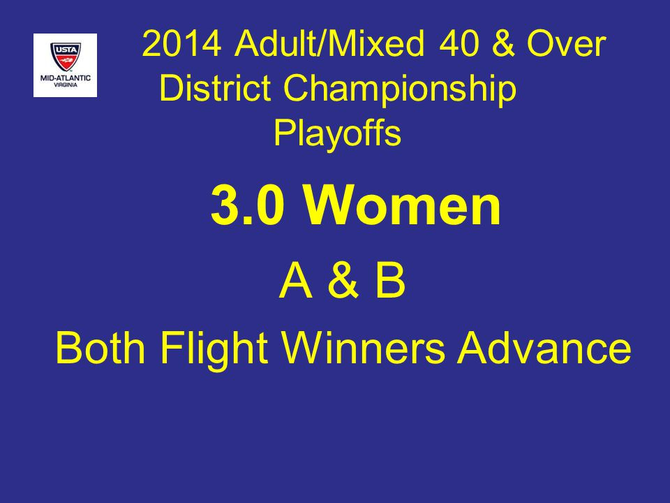 2014 Adult/Mixed 40 & Over District Championship Playoffs 3.0 Women A & B Both Flight Winners Advance