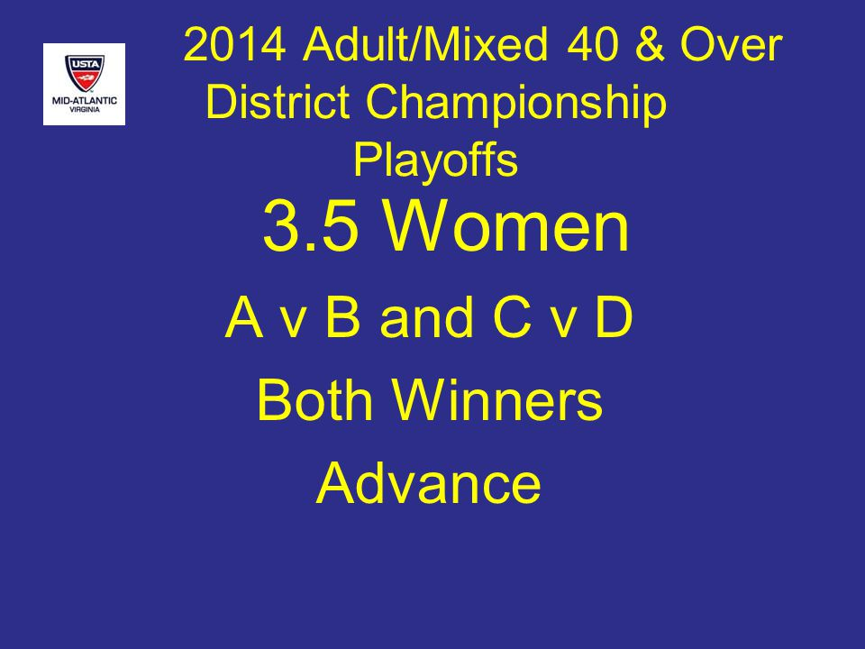 2014 Adult/Mixed 40 & Over District Championship Playoffs 3.5 Women A v B and C v D Both Winners Advance
