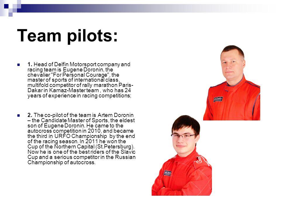 Team pilots: 1. Head of Delfin Motorsport company and racing team is Eugene Doronin, the chevalier