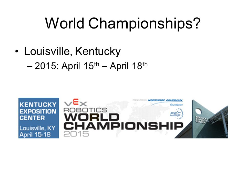 World Championships Louisville, Kentucky –2015: April 15 th – April 18 th
