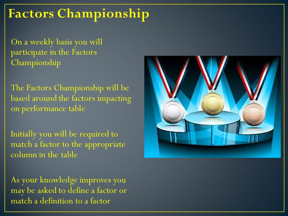 On a weekly basis you will participate in the Factors Championship The Factors Championship will be based around the factors impacting on performance table Initially you will be required to match a factor to the appropriate column in the table As your knowledge improves you may be asked to define a factor or match a definition to a factor