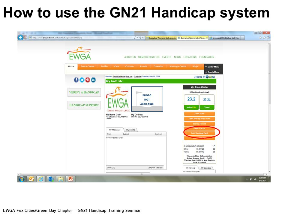 How to use the GN21 Handicap system EWGA Fox Cities/Green Bay Chapter -- GN21 Handicap Training Seminar