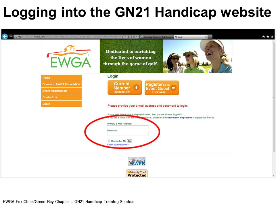Logging into the GN21 Handicap website EWGA Fox Cities/Green Bay Chapter -- GN21 Handicap Training Seminar